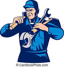 tradesman handyman worker carrying tools - illustration of a...