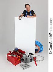 tradesman holding, mobile, phone