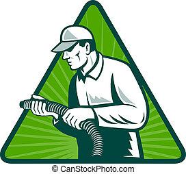 tradesman, lar, isolação, técnico, com, mangueira