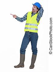 Tradesman laughing