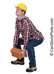 tradesman, levantamento, um, carga pesada