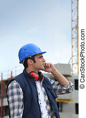 tradesman, local construção, trabalhando