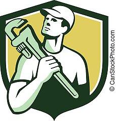 Tradesman Plumber Wrench Shield Retro