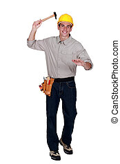 Tradesman raising a hammer