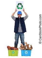 tradesman, reciclagem, promover, jovem