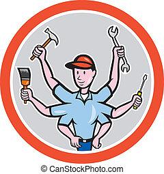 Tradesman Worker Six Hand Cartoon