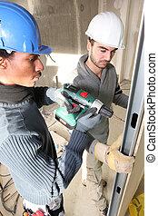 tradesmen, 安裝, drywall
