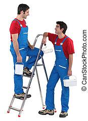 Tradesmen taking a break