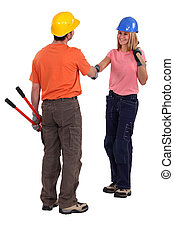 Tradespeople meeting for the first time