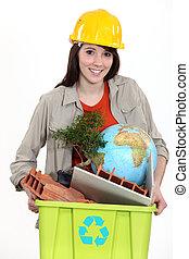 tradeswoman, 取出, the, 再循環