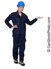 Tradeswoman dressed in denim clothing