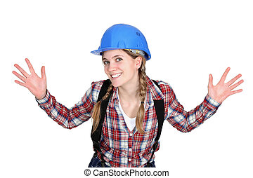 Tradeswoman holding up her hands