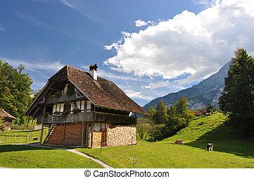 tradiční, švýcarský, venkovské sídlo