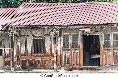 tradiční, dřevěný, taiwan, vila
