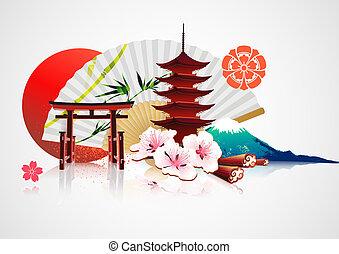 tradiční, japonština, grafické pozadí