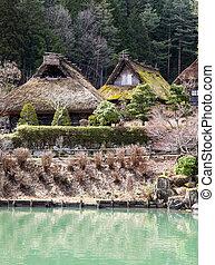tradiční, japonsko, stavení, -, takayama
