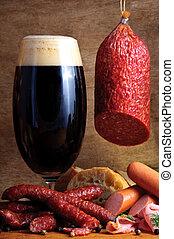 tradiční, pivo, jitrnice