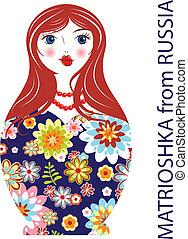 tradiční, ruský panenka, matryoshka, matrioshka