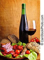tradiční, strava, a, víno