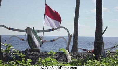 Tradichionny boats of fishermen on seashore and fishing...