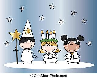 tradición, santa, lucia, navidad
