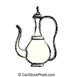 tradicional, árabe, bule, ícone