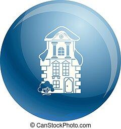 tradicional, ícone casa, estilo, simples