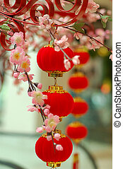 tradicional, 3, chino, rojo, linterna