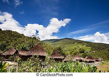 tradicional, aldea montaña