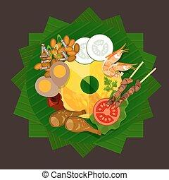 tradicional, alimento, arroz, tumpeng, indonesia