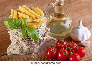 tradicional, alimento, ingredientes, detalhe