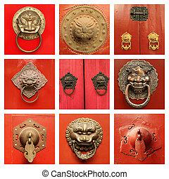 tradicional, antigüidade, chinês, aldravas porta, ligado, porta vermelha, collecti