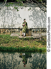 tradicional, ao, dai, vestido, mujer