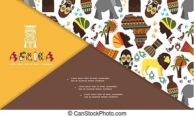 tradicional, apartamento, elementos, composição, africano
