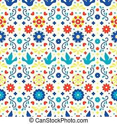 tradicional, arte, coloridos, padrão, mexico., ornament., fiesta, seamless, flores, experiência., desenho, folclore, folhas, floral, mexicano, branca, partido., pássaros, povo