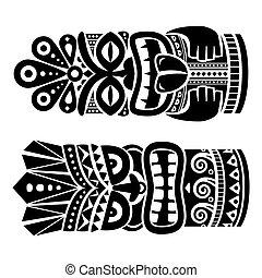 tradicional, arte, hawai, tiki, estatua, poste, tótem, ...