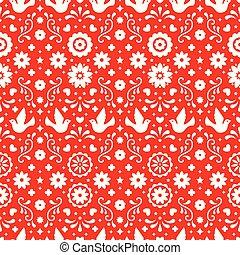 tradicional, arte, padrão, mexico., ornament., fiesta, seamless, flores, experiência., desenho, vermelho, folclore, folhas, floral, mexicano, partido., pássaros, povo