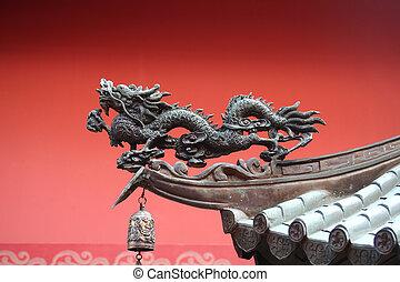 tradicional, asiático, dragón