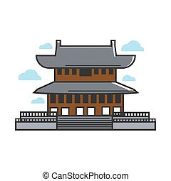 tradicional, asiático, templo
