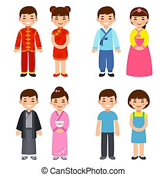 tradicional, asiático, trajes, países