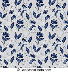 tradicional, azul, girasoles, seamless, plano de fondo