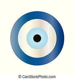 tradicional, azul, olho mal, vetorial
