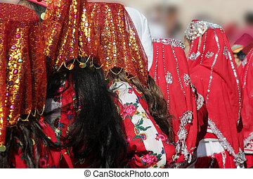 tradicional, bailarines, disfraz, turco