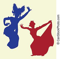 tradicional, baile, 1, silueta