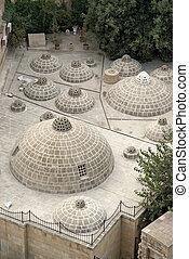 tradicional, baku, tejado, azerbaiyán, cúpulas