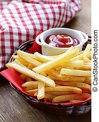 tradicional, batatas fritas