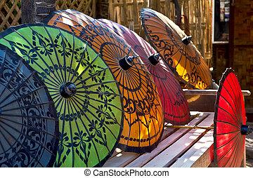 tradicional, birmano, parasol