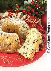 tradicional, bolo natal, com, passas