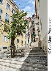 tradicional, calle, alfama, distrito, escalera