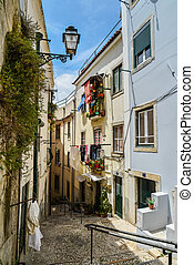 tradicional, calle, alfama, escalera